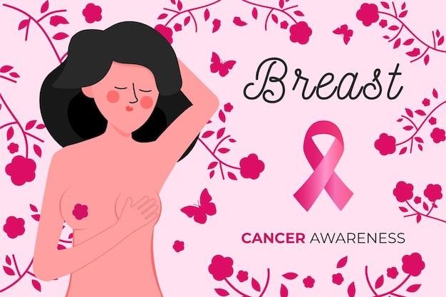 Иллюстрированная женщина, представляющая месяц осведомленности о раке груди Premium векторы