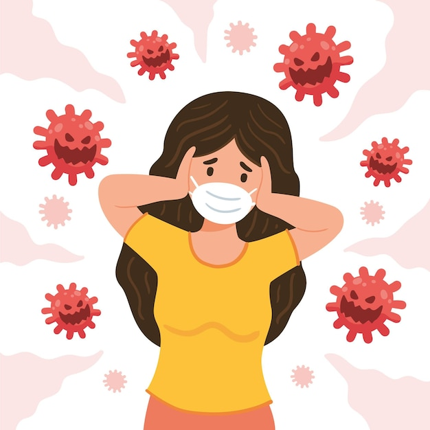 Illustrated woman scared of covid-19 disease Free Vector