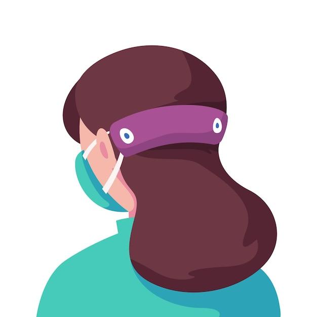 Donna illustrata che indossa un cinturino regolabile per maschera facciale Vettore gratuito