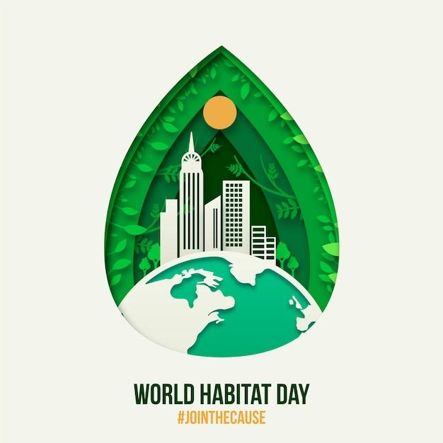 Evento illustrato della giornata mondiale dell'habitat in stile cartaceo Vettore gratuito