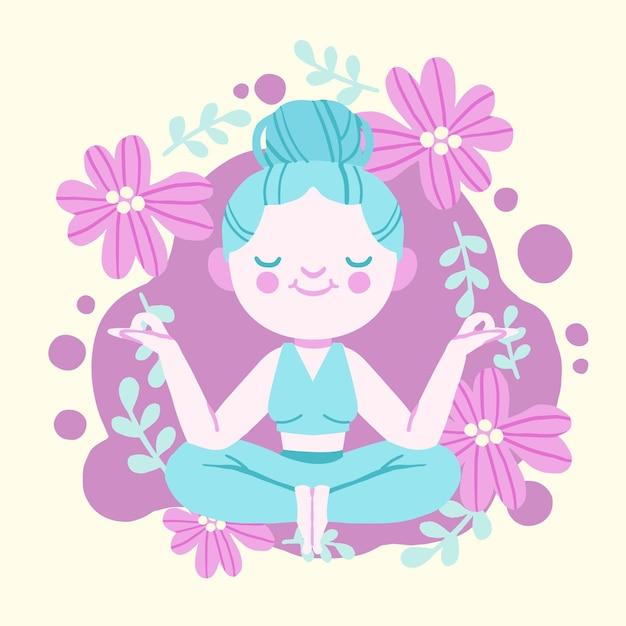 Meditazione illustrata della giovane donna Vettore gratuito