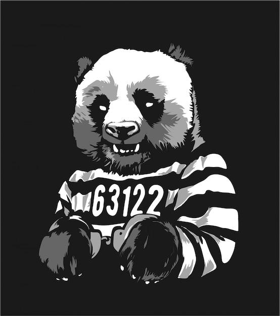 Мультфильм панда заключенный в наручниках illustratioin Premium векторы