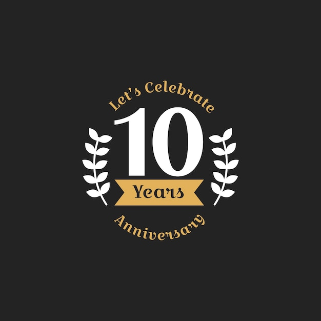 Illustration of 10th anniversary stamp banner Free Vector