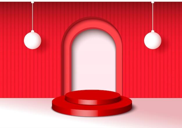Иллюстрация 3d стиль украшен красным фоном Premium векторы