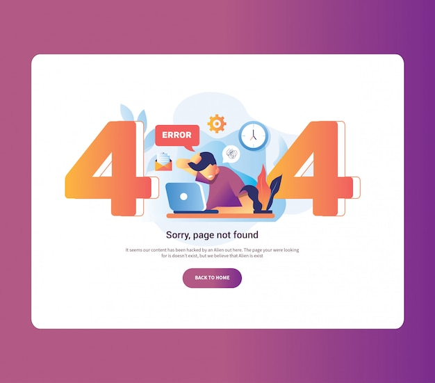 Illustration 404 error page male worker frustrated in front laptop. system error upload schedule gear its good for page not found error 404. Premium Vector