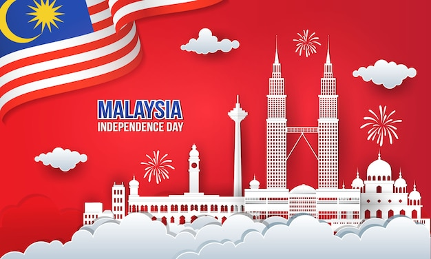 Illustration of 63 years malaysia independence day celebration with city skyline, malaysia flag and fireworks in paper cut and digital craft style Premium Vector