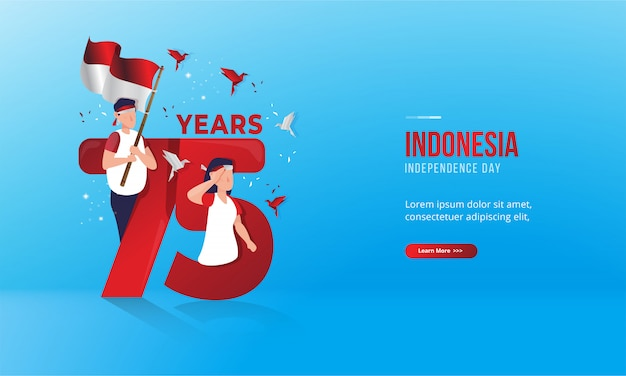 Illustration of 75 years for indonesian national day greeting cards Premium Vector