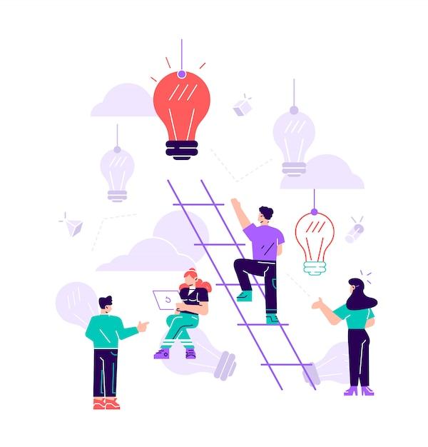 イラスト、男は階段を上って、目標を達成し、成功への道は、動機、キャリアアップ、アイデアの探求です。 Premiumベクター