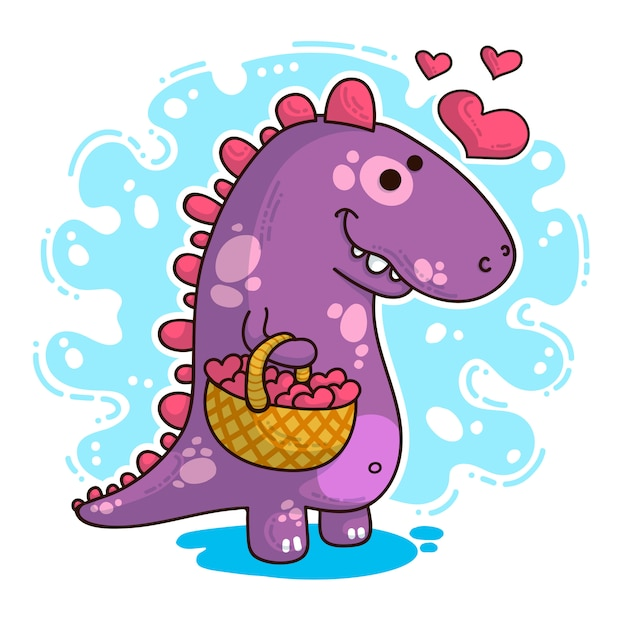Illustration about dinosaur in love Premium Vector