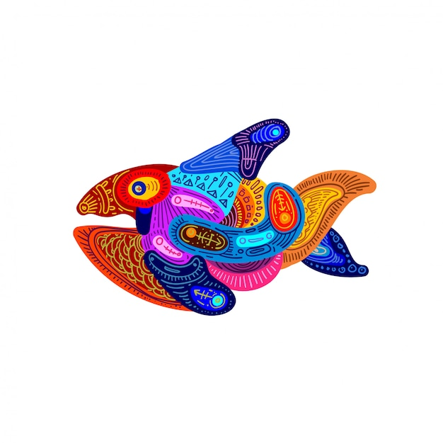 Illustration abstract colorful ethnic fish ornament. Premium Vector