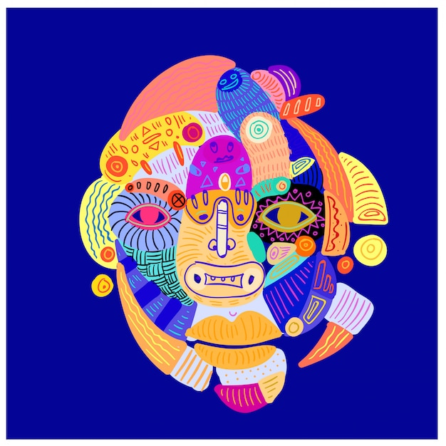 Illustration abstract colorful ethnic head and face ornament. Premium Vector