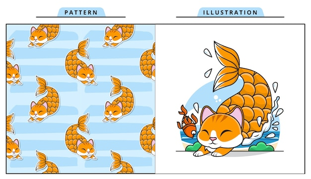 Illustration of adorable cat mermaid with decorative seamless pattern Premium Vector