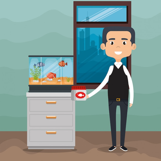 Illustration of adult with fish in aquarium Free Vector