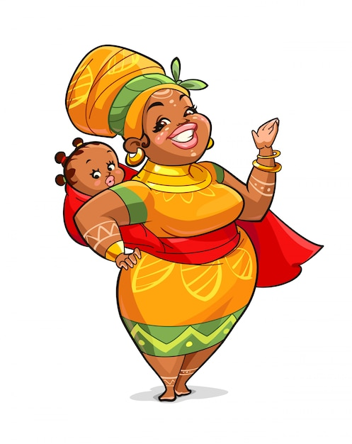 Illustration of african mother with her baby Premium Vector