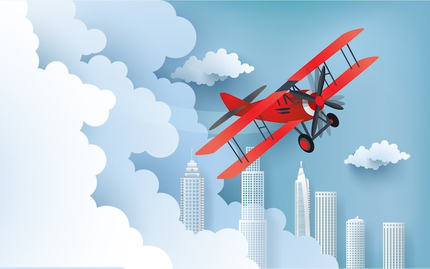 Illustration of an airplane over a cloud. Premium Vector