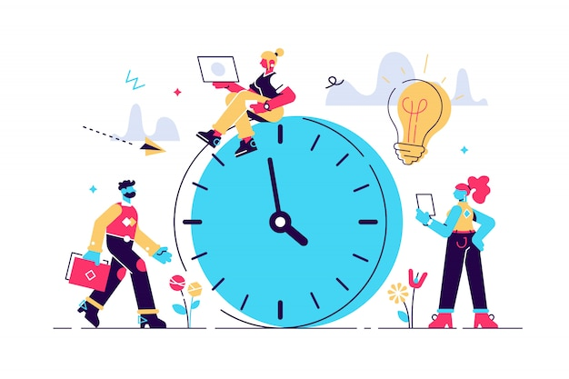 Illustration, alarm clock rings on white background, concept of work time management Premium Vector