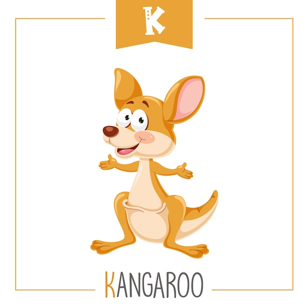 Illustration of alphabet letter k and kangaroo Premium Vector