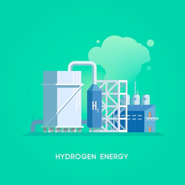Illustration. alternative sources of energy. green energy. hydrogen station. Premium Vector