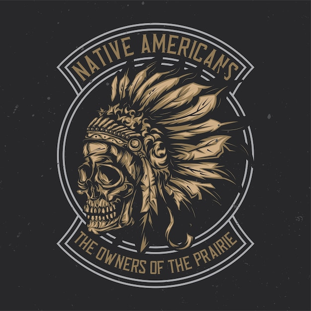 Illustration of american indian chief skull with Premium Vector