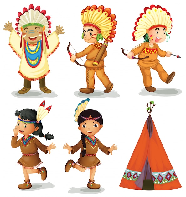 Illustration of american red indians Free Vector