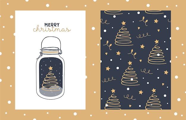Иллюстрация и бесшовные модели с милым деревом chritmas в стеклянной банке со звездами и снежинками. Premium векторы