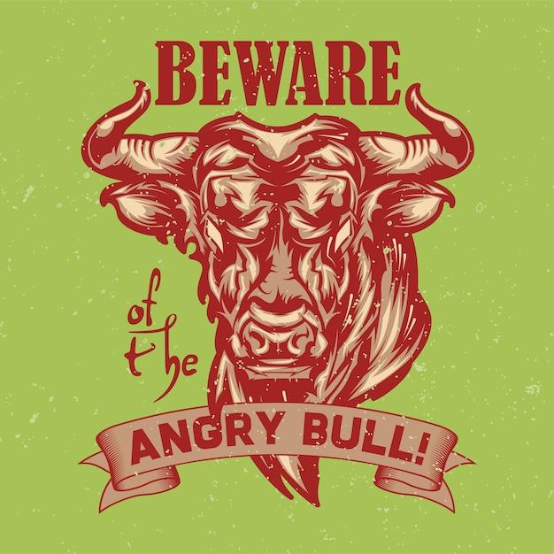 Illustrazione del toro arrabbiato Vettore gratuito