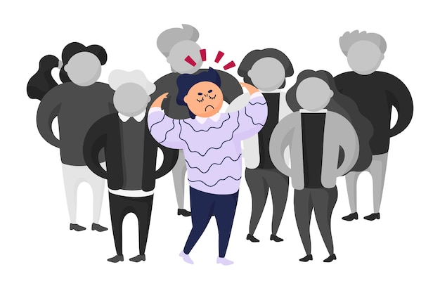 Illustration of angry person in crowd Free Vector