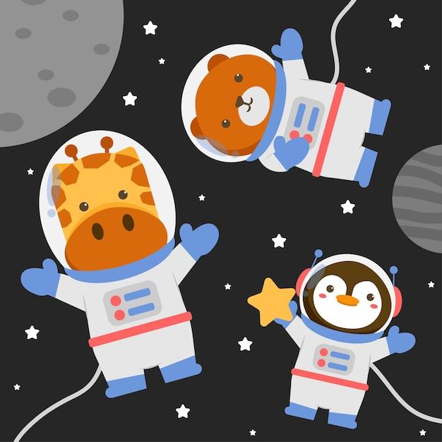 星と宇宙服を着てイラスト動物キャラクター 無料ベクター