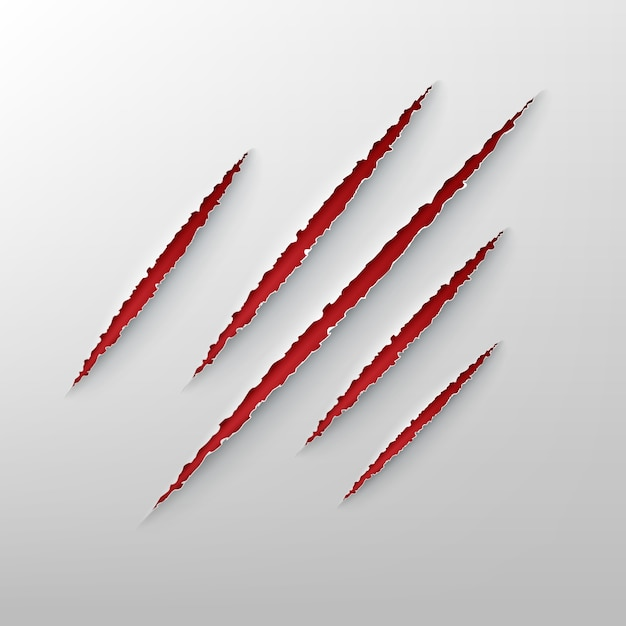 Illustration of animal claw red ragged scratches Premium Vector