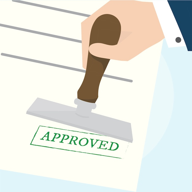 Illustration of approved stamp Free Vector
