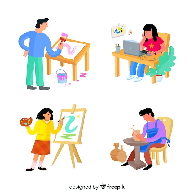 Illustration of artists at work Free Vector