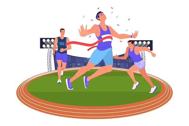 Illustration athlete sprinting. running competition. young professional sportsman training. athlete on the stadium. championship tournament.  vector Premium Vector