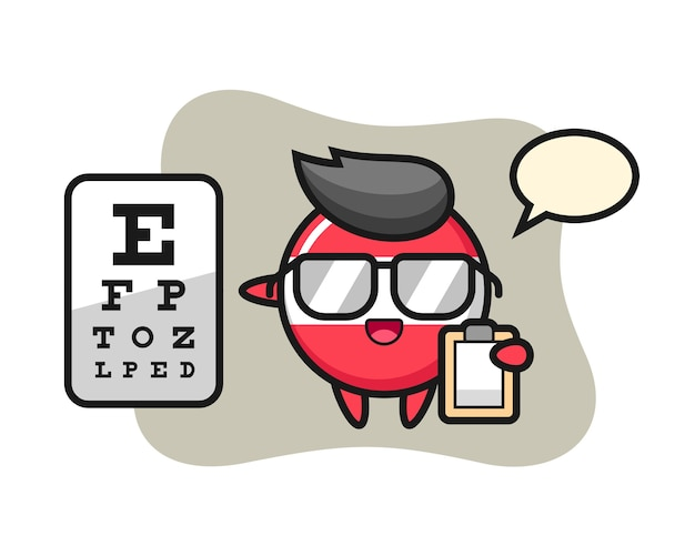 Illustration of austria flag badge mascot as a ophthalmology Premium Vector