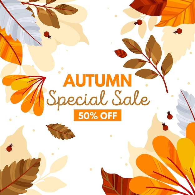 Illustration of autumn sale discounts Free Vector
