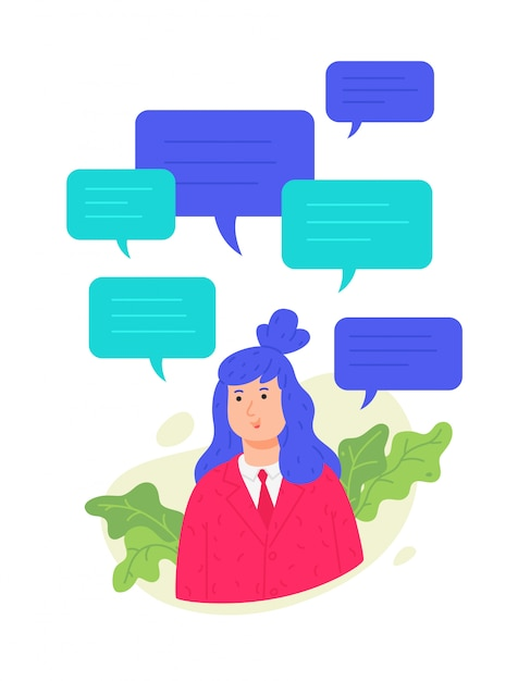 Illustration of avatar girl with text messaging. Premium Vector
