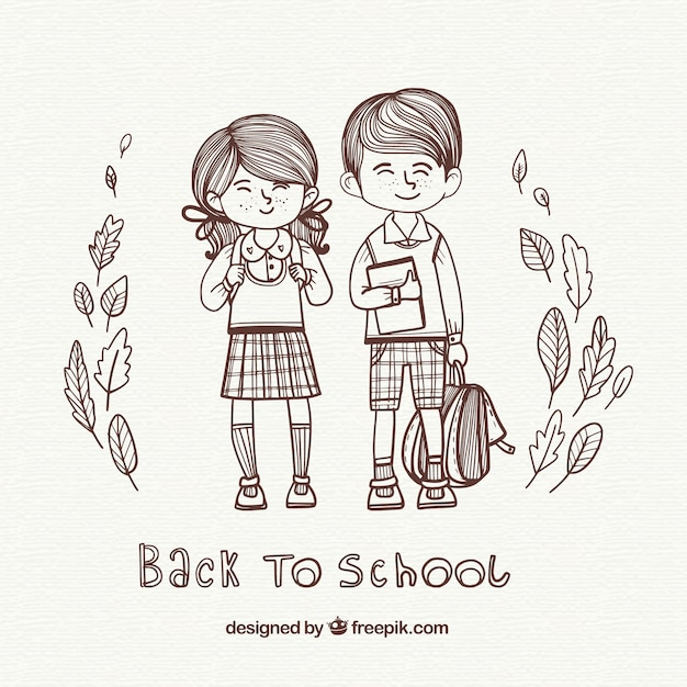 Illustration background of boys going to school