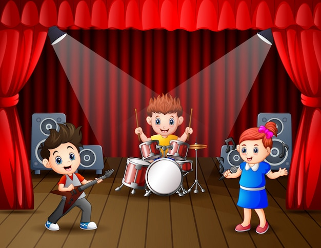 Illustration of a band performing on stage Premium Vector