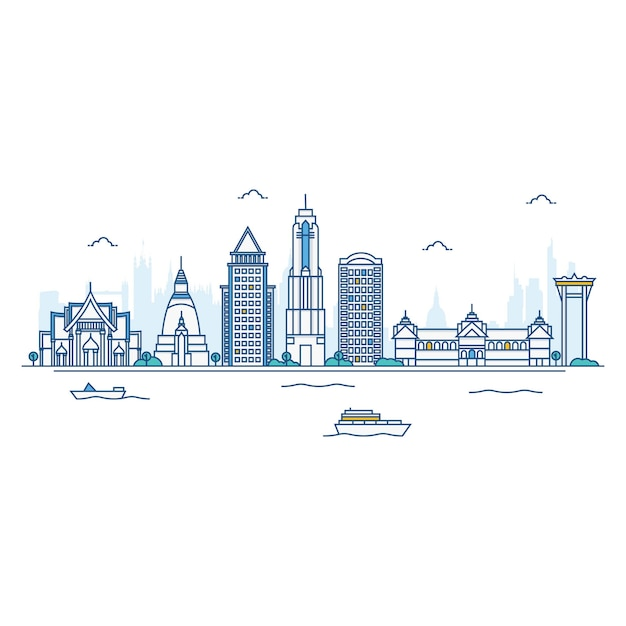 Illustration of bangkok skyline. Premium Vector
