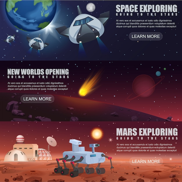 Illustration banner template of space flight spaceships exploration, alien planets in outer space, galaxy mars rover and colonization. Premium Vector
