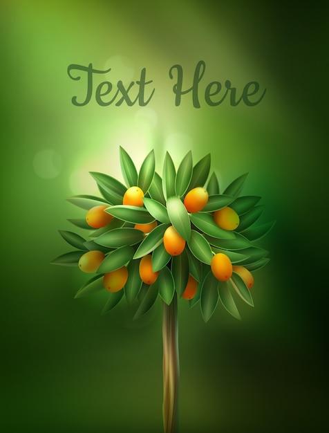 Illustration of beautiful citrus tree Free Vector