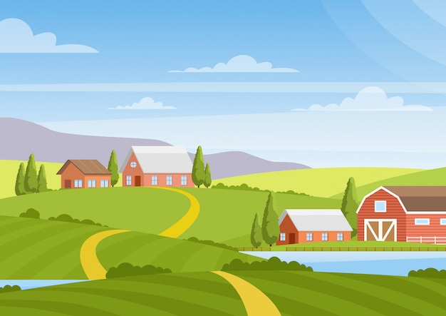 Illustration of beautiful countryside landscape with fields, dawn, green hills, farm, houses, trees, bright color blue sky, background in  cartoon style. Premium Vector
