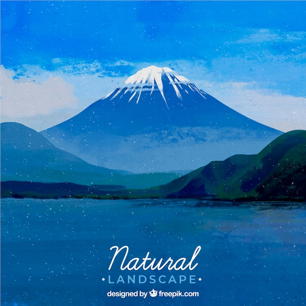 Illustration of beautiful natural landscape with mountains Free Vector