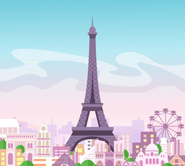Illustration of beautiful skyline city view with buildings and trees in pastel colors. symbol of paris in  cute e with city and eiffel tower, france. Premium Vector