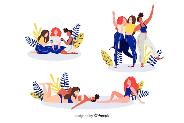 Illustration of best friends having fun together set Free Vector