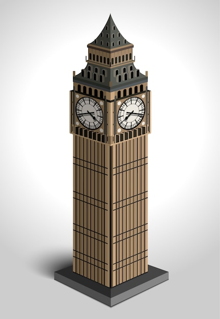 Illustration of big ben tower  on white background. Premium Vector