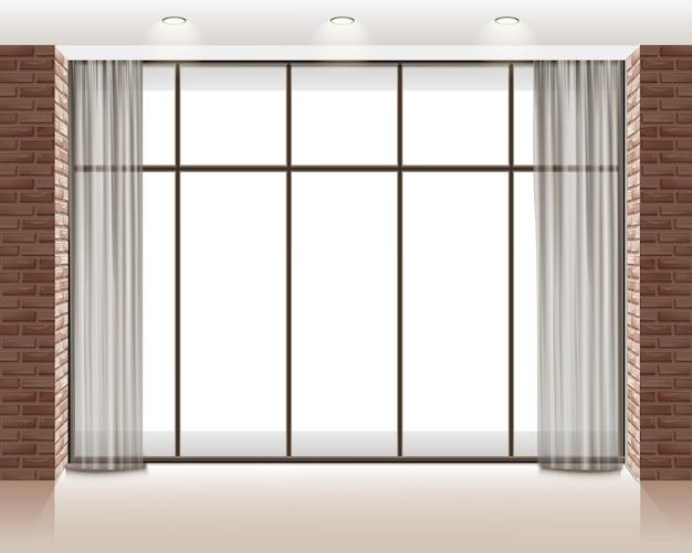 Illustrazione della grande finestra all'interno della stanza vuota soppalco con muro di mattoni Vettore gratuito