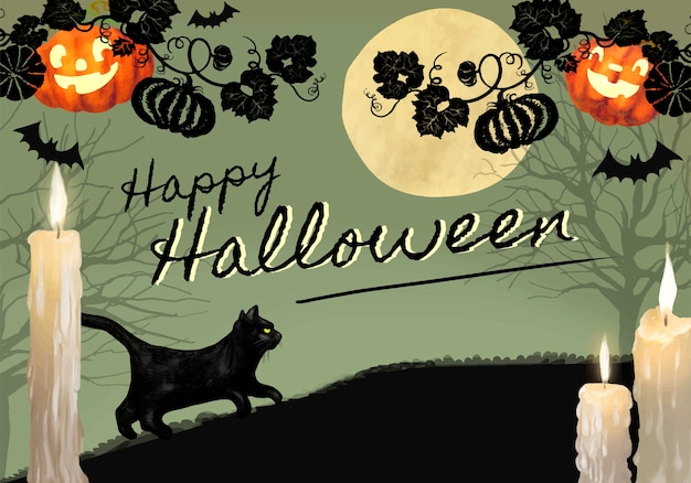 Illustration of black cat for halloween themed background Free Vector