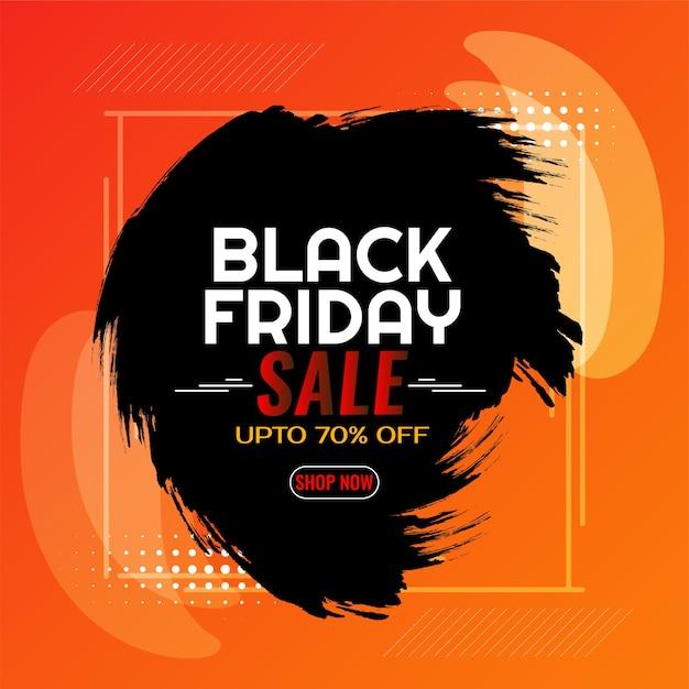 Illustration of black friday sale brush stroke background Free Vector