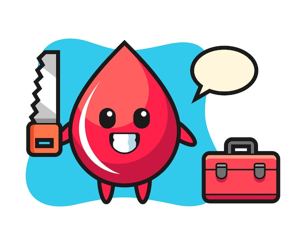 Illustration of blood drop character as a woodworker, cute style , sticker, logo element Premium Vector