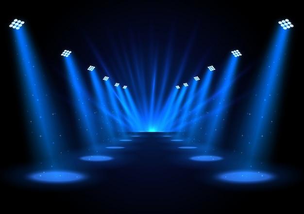 Illustration of blue spotlights on dark background Premium Vector